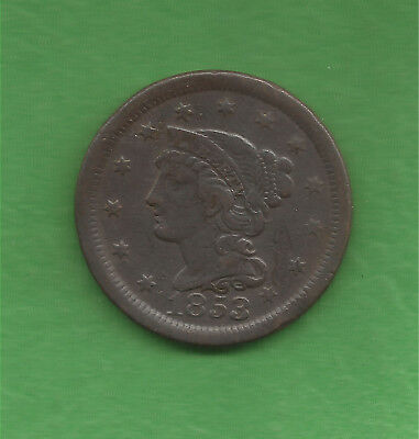 1853 Braided Hair, Large Cent - 165 Years Old!!!