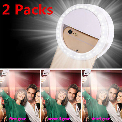 2 Packs Rechargeable Selfie LED Ring Fill Light Camera for iPhone Android Phone