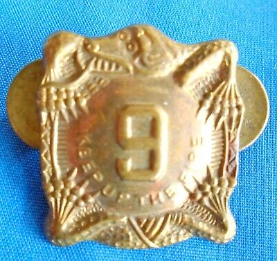 "VINTAGE ""KEEP UP THE FIRE"" 9th INFANTRY REGIMENT PIN MEDAL BADGE"
