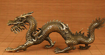Big Chinese Old Bronze Hand Carved Dragon Statue Figure Ornament Collectable