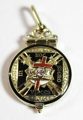 Antique Masonic Knights Templar IN HOC SIGNO Vinces 14KY Gold Pendant w/Diamond