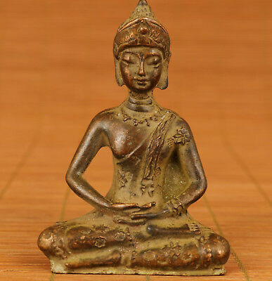 Blessing Chinese Old Bronze Handmade Carved Buddha figure Statue decoration