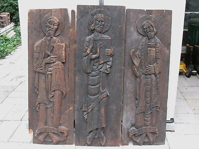 Very Old Religious Wood Carvings Jesus - St. Paul - St. Peter Fantastic Find