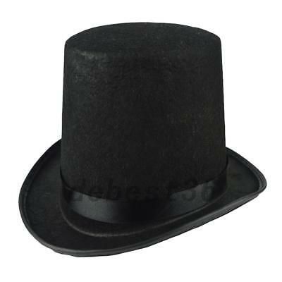 Black Sleek Satin Lincoln Top Hat Dress Up Costume Party Accessory LOT