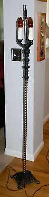 WORKING Vintage Antique Cast Iron Floor Lamp with 3 Lights - Gold Twist Post