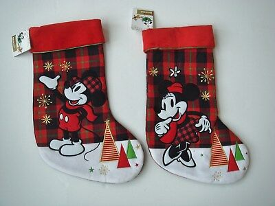 NWT DISNEY STORE Mickey and Minnie Mouse Plaid Applique Christmas Stockings