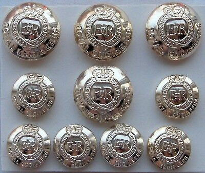 """Set of 10x British Army:""""ROYAL ENGINEERS STAYBRITE BUTTONS"""" (Firmin, London)"""