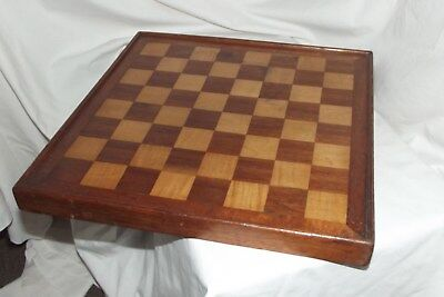 """Wonderful Antique  Wooden Chess Game Board TREEN 13 3/4""""  1 1/2"""" squares"""
