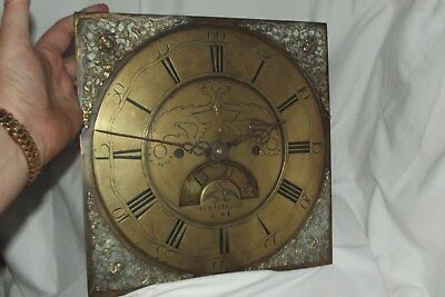 "Antique Long Case Grandfather Clock Brass Dial  FACE 11"" By 11"" WETHRAD K * L"