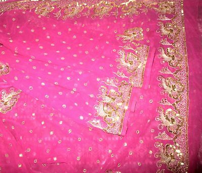 Antique Vintage Sari Saree EMBROIDERED OLD RARE 4Y  Z18 Magenta Sequins #,AP90