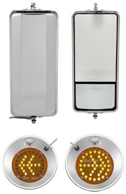 """Set of SS West Coast Heated Mirror and 8.5"""" Convex w/ LED Turn Signal Mirrors"""