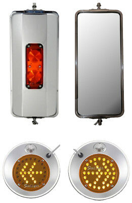 "Set of SS West Coast Heated Lighted and 8.5"" Convex w/ LED Turn Signal Mirrors"