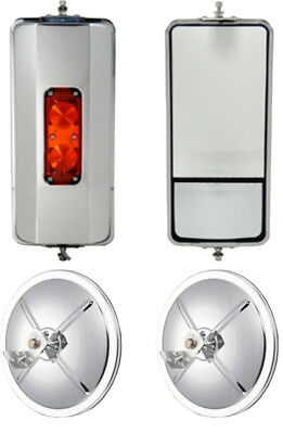 "Set of SS West Coast Heated Lighted Mirrors and 8.5"" Chrome Convex Truck Mirrors"