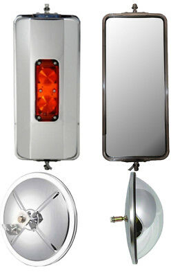 """Set of SS West Coast Heated Lighted Mirrors and 8.5"""" Bubble Convex Truck Mirrors"""