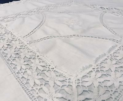 "MINT Vintage Pair European 30x30 LL Mono 2.5"" Flower Lace Edge Pillow Shams S12"