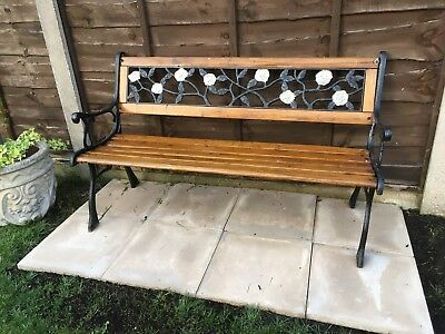 Outdoor Wooden 2 Seater Cross Rose Garden Bench Park Seat With Cast Iron Legs 6