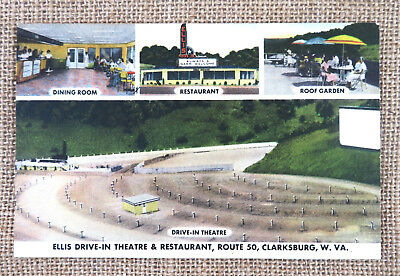 Linen Postcard Ellis Drive-In Theater And Restaurant