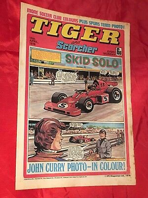 TIGER & SCORCHER - WEEKLY BRITISH COMIC - 10th APRIL 1976 - JOHN CURRY - SKATER
