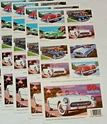Five Booklets x 20 = 100  SPORTY CARS 37¢ US PS Postage Stamp. Scott # 3931-3935