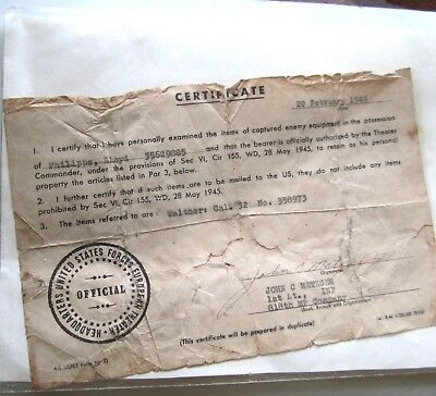 WWII WW2 1946 HQ U.S Forces European Theater Certificate Captured Walther 32 Cal