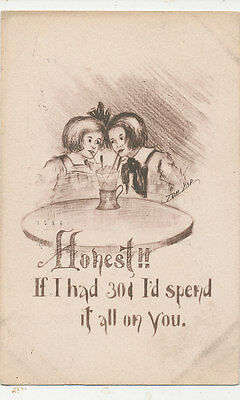 C3930 1911 Postcard Comic Humour Yad Kids Ice Cream Sundae