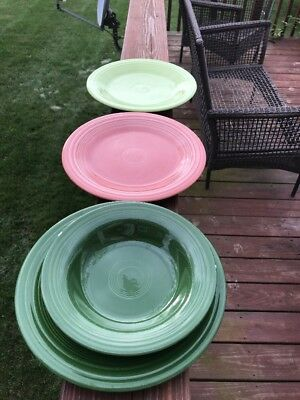 3 Fiesta Ware Dinner Plates And 1 Bowl