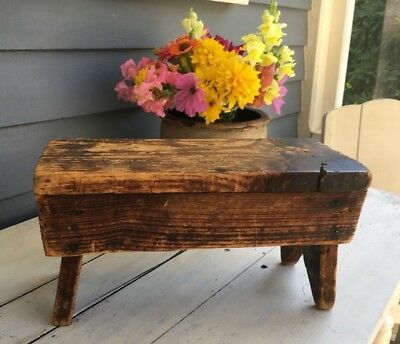 Early Primitive Antique Dry Surface Small Bench Bootjack Sides Patina!