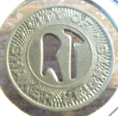 1955 City of Shaker Heights Cleveland, OH Transit Bus Token - Ohio