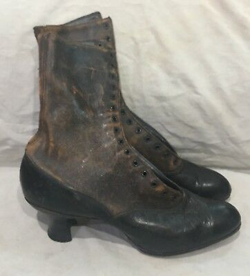 """Vtg Victorian Lace Up Black & Brown Leather Ladies Boots 10"""" long by 9 1/2"""" tall"""