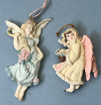 Pair 2 Vintage 90s Resin Hand Painted Victorian Style Christmas Angel Ornaments