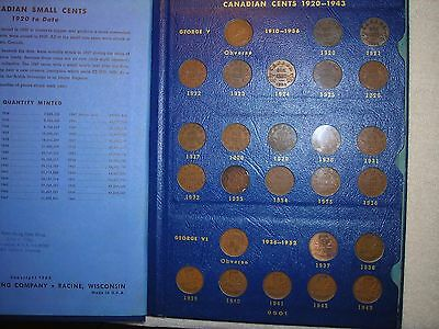 Complete Set Canadian Small Cents Canada 1920 -1969 Key Dates! Whitman Folder