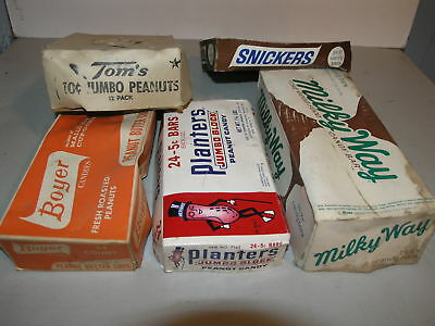 5 Vintage Candy & Nut Box Lids as is Planters, Boyer, Milky Way, Snickers, Tom's