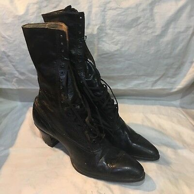 """Vintage Victorian Lace Up Black Leather Ladies Boots 10 1/2"""" long by 9"""" tall"""