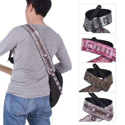 Adjustable Snakeskin PU Leather Strap for Acoustic Electric Guitar Bass M5E6