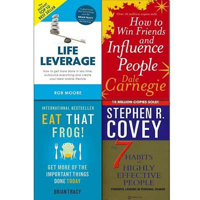 How to Win Friends and Influence People Eat That Frog 4 Books Collection Set NEW