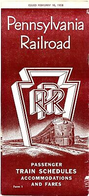 Pennsylvania Railroad, System passenger time table, February 16, 1958, 47 pages