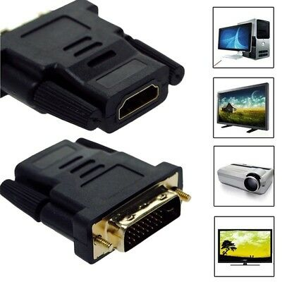 DVI-D Male (24+1 pin) to HDMI Female (19-pin) HD HDTV Monitor Display Adapter US