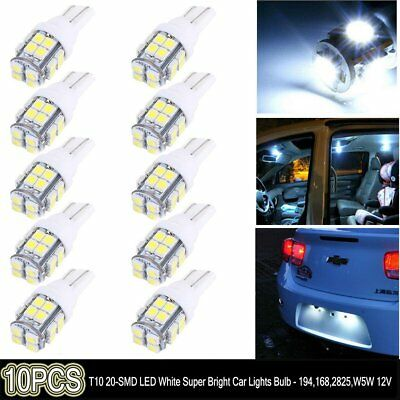 10x 5 SMD LED 501 T10 W5W PUSH WEDGE CAPLESS BRIGHT WHITE SIDE LIGHT BULBS AT