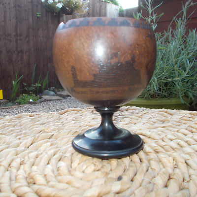 LATE 18thC ENGLISH MARINER TREEN CARVED COCONUT GOBLET PERCH ROCK WIRRAL MERSEY
