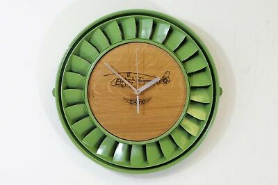 Gazelle Clock in green made from blade ring from a Turbomeca Helicopter