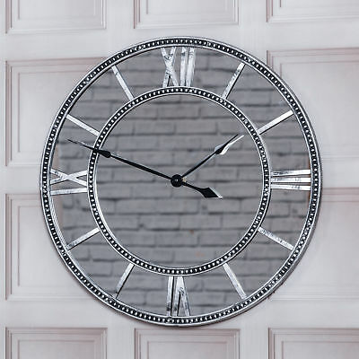55Cm Round Vintage Antique Mirrored Roman Numerals Wall Clock Home Decor Gift
