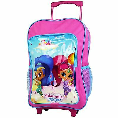 Official Shimmer & Shine Deluxe Wheeled Trolley Bag Backpack Childrens
