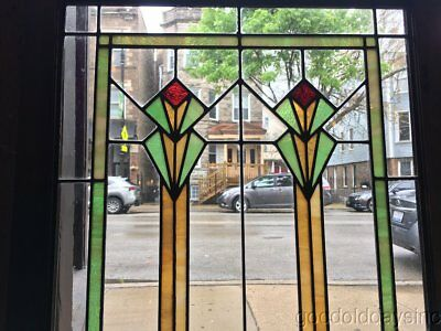 "Antique Art Deco Stained Leaded Glass Window / Cabinet Door 51"" by 26"""
