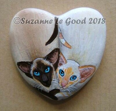 Siamese Cat painting art on heart stone rock handpainted by Suzanne Le Good