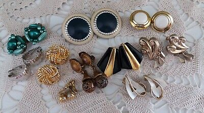 Vintage Clip-on Earrings MIxed Lot of 10 Pair