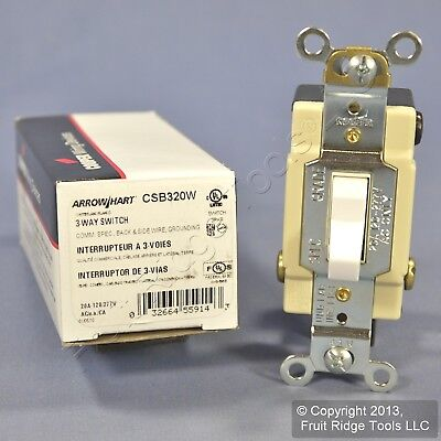New Cooper White 3-Way COMMERCIAL Grade Toggle Wall Light Switch 20A CSB320W