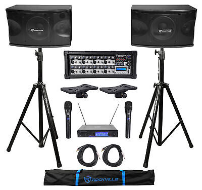 "(2) Rockville KPS80 8"" 800w Karaoke Speakers+Mixer+Tripod Stands+Wireless Mics"