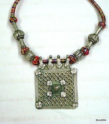 vintage antique tribal old silver necklace choker beads pendant gypsy