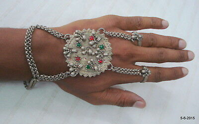 vintage antique tribal old silver dorsal hand ornament ethnic bracelet rings