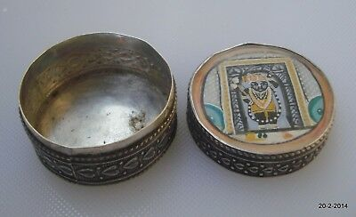 vintage antique old silver box hindu god shreenathji rajasthan india